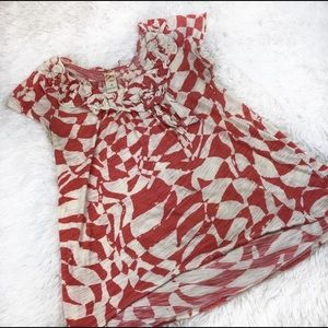ANTHRO Ruffled Front Coral & Cream Cotton Top